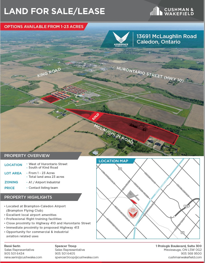 Land for SaleLease Brampton Flight Centre